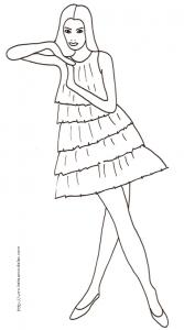 Coloriage du Top Model robe volants