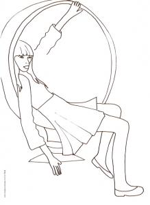 Coloriage du Top Model assise dans un fauteille bulle