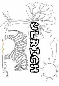 Coloriage prénom Ulrich - savane et lettres gwibBle