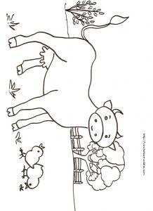 Imprimer le coloriage de la vache et des poussins