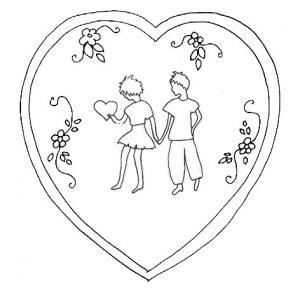 Enfants amoureux en coeur pour la carte
