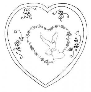 Motif coeur à colorier pour la carte