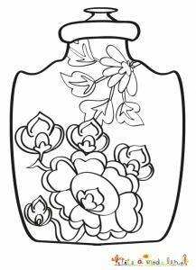 Coloriage vase chinois aux pivoines