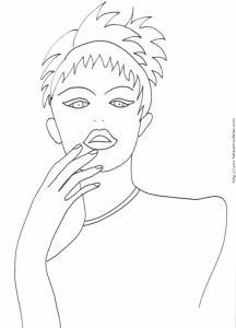 Coloriage d'un visage de fille main devant la bouche