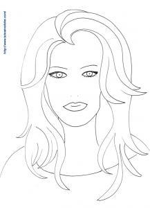 Coloriage visage femme aux cheveux longs