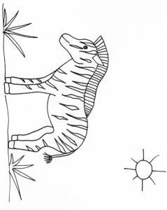 coloriage d'un zèbre dans la savane