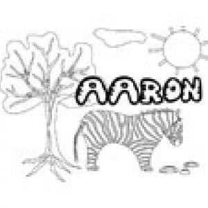 Coloriage prénom Aaron - Savane et lettres gwible