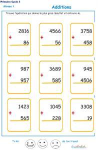 Imprimer les additions en colonne 2 chiffres  fiche 3