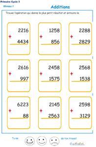 Imprimer les additions en colonne 2 chiffres  fiche 4