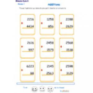 fiche 4 d'additions en colonne 2 chiffres