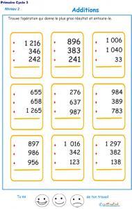 Imprimer les additions en colonne 3 chiffres  fiche 1