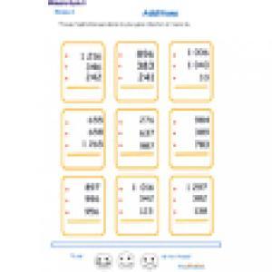 fiche 1 d'additions en colonne 3 chiffres