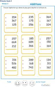 Imprimer les additions en colonne 3 chiffres  fiche 3
