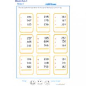 fiche 3 d'additions en colonne 3 chiffres