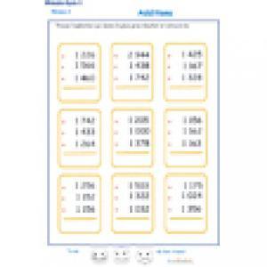 fiche 6 d'additions en colonne 3 chiffres