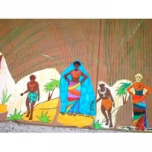 Fresque sur l'Afrique avec des coloriages