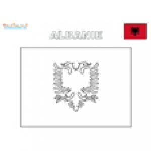 Drapeau de l'Albanie à colorier