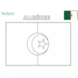Drapeau Algérie à colorier