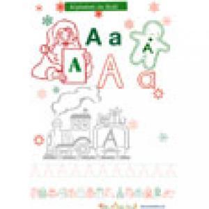 La lettre A de l'alphabet de Noël à colorier