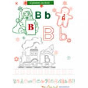 Le B de l'alphabet de Noël à colorier