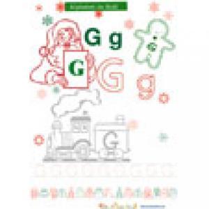 G, lettre G de l'alphabet de Noël à colorier