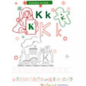 K alphabet Noël pour le coloriage
