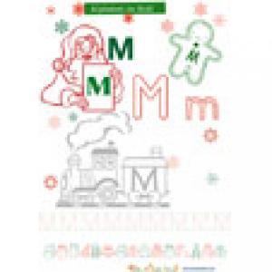 M, une lettre de l'alphabet de Noël à colorier