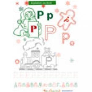 Lettre P de l'alphabet de Noël à colorier