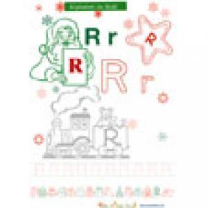 Alphabet de Noël : lettre R à colorier