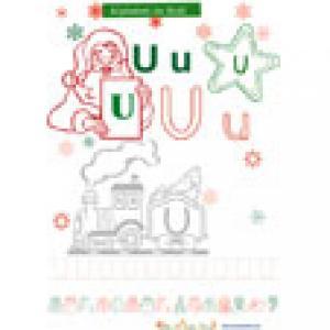 Coloriage de la lettre U de l'alphabet de Noël