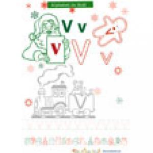 V de alphabet de Noël à colorier rouge et vert