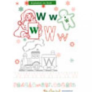 "Coloriage ""W"" de alphabet de Noël"