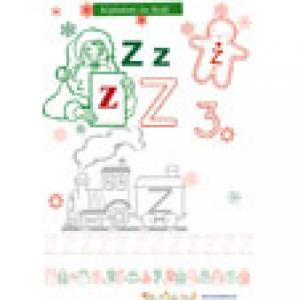 Z, lettre de l'alphabet de Noël à colorier