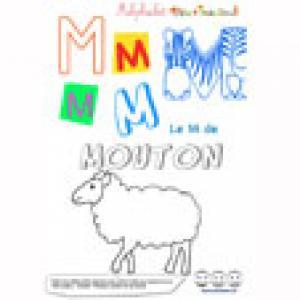 """Alphabet : lettre """"M"""" majuscule à imprimer"""