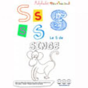 """Alphabet : lettre """"S"""" majuscule à imprimer"""