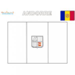 Drapeau de l'Andorre à colorier
