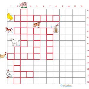 Imprimer Grille de mots croisés animaux de la ferme grille 3 pour le primaire cycle 2
