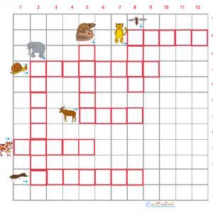 Imprimer la grille de mots  croisés sur les animaux grille 6 pour le primaire cycle 2