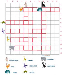 Grille de mots croisés sur les animaux grille 7