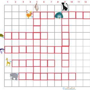 Imprimer la grille de mots croisé sur les animaux grille 7 pour le primaire cycle 2