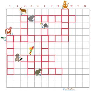 Imprimer la grille de mots croisés sur les animaux grille 8 pour le primaire cycle 2