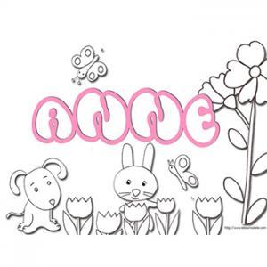 coloriage prénom Anne