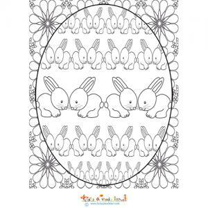 Composition des lapins à colorier