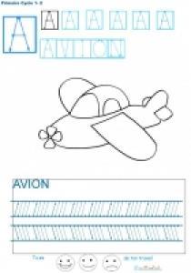 Livre de graphisme et d'écriture en bâton n°1 pour écrire les lettres de A à Z