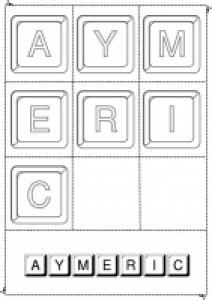jouer avec les lettres du prénom Aymeric