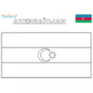Drapeau Azerbaiijan à colorier