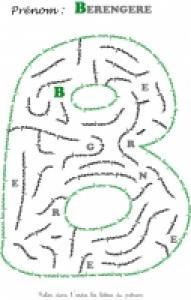Labyrinthe pour jouer avec les lettres de son prénom berengère