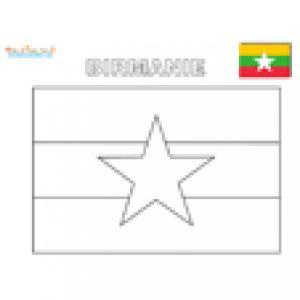 Drapeau Birmanie à colorier