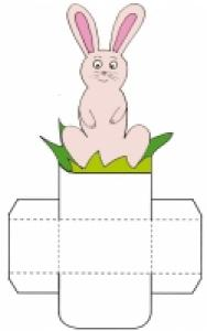 "Imprimer la petite corbeille de table ""lapin rose"""