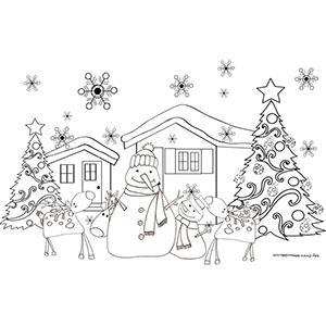 Coloriage du chalet de Noël avec bonshommes de neige, sapins et rennes